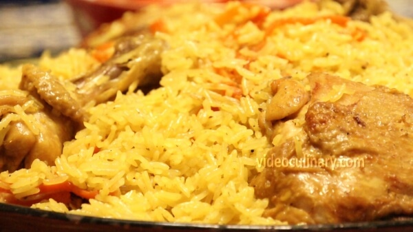 Chicken Plov (Uzbek pilaf rice with chicken)