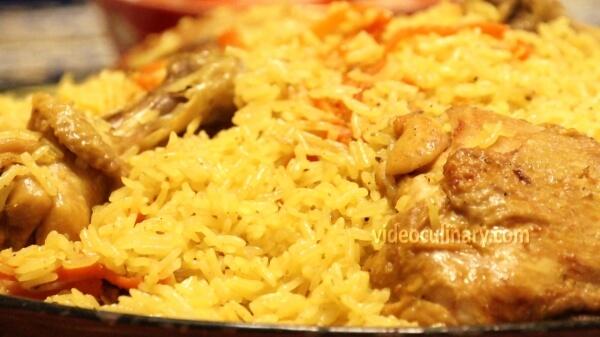 Chicken Plov (Uzbek pilaf rice with chicken)