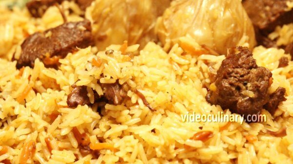 Garlic Plov (Uzbek pilaf rice with garlic)