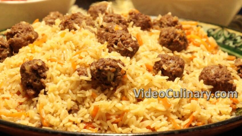 Meatballs and Rice Plov (Pilaf)